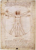 da Vinci and his ideal human proportions.  okay.
