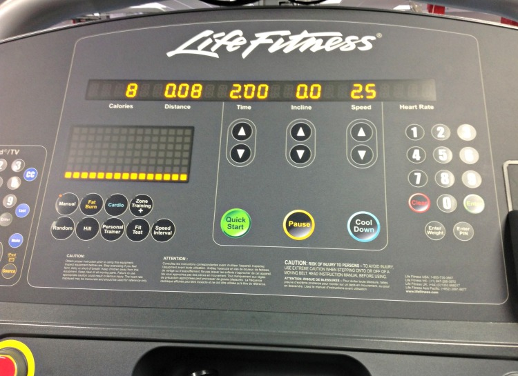 My view of the treadmill.  Note the slow pace due to the injured knee thing.  This did increase somewhat.