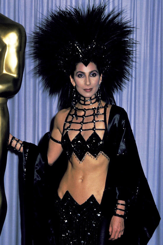 Cher bared and gazed at her navel frequently.  I like Cher.