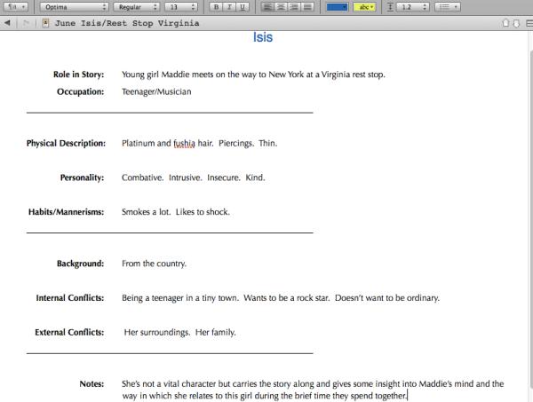 Character Sketch -- Scrivener making it happen.