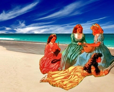 We four girls, years later, relaxing beachside. Sans boy. Girls rule.